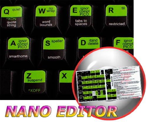 NANO EDITOR NEW KEYBOARD STICKERS SHORTCUTS