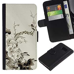 Billetera de Cuero Caso Titular de la tarjeta Carcasa Funda para Samsung Galaxy S6 SM-G920 / Design Japanese Flowers / STRONG