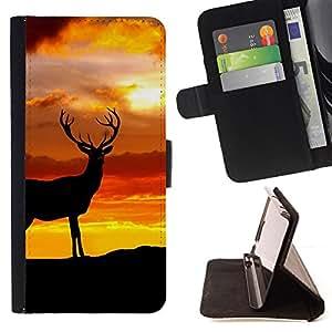 - deer golden yellow sunset nature antlers - - Prima caja de la PU billetera de cuero con ranuras para tarjetas, efectivo desmontable correa para l Funny HouseFOR LG G2 D800