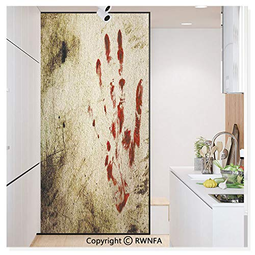 - Non-Adhesive Privacy Window Film Door Sticker Grunge Dirty Wall with Bloody Hand Print Murky Palm Trace Victim Violence Glass Film 23.6 in. by 78.7in. (60cm by 200cm),Red Beige