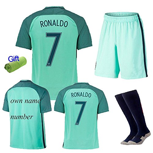 FC FirstClass 2017 Away Kit Football Soccer Kids Shirt & Shorts & Socks & Free Ice Face Cloth Sportwear Kit (#1 RONALDO 7, 7-8 years) (Portugal Away Shirt)