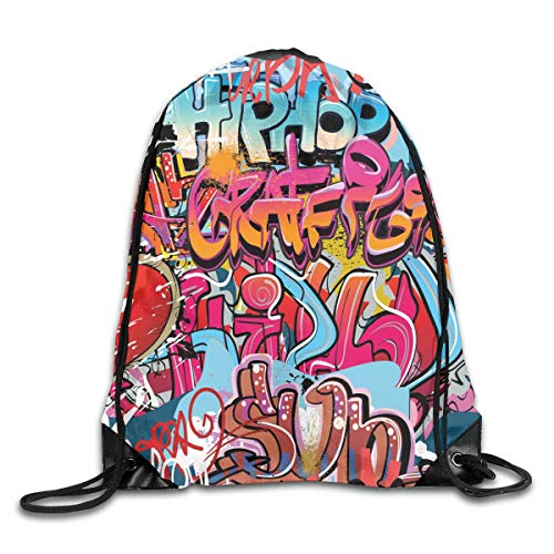 2019 Funny Drawstring Backpacks Bags Daypacks,Hip Hop Street Culture Harlem New York City Wall Graffiti Art Spray Artwork Image,Adjustable For Sport Gym Traveling -