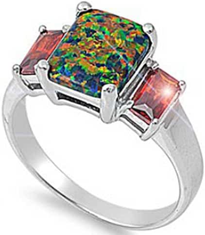 Large Emerald-cut Lab created Black Lab Opal Red cz Sterling Silver Ring 5-9