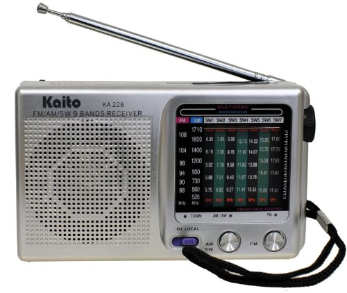 Kaito KA228 Pocket-size 9-Band AM/FM Shortwave Radio, Silver by Kaito