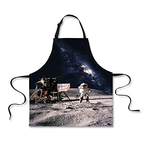 iPrint Cooking Apron,Galaxy,Astronaut on Rocky Surface of Mo