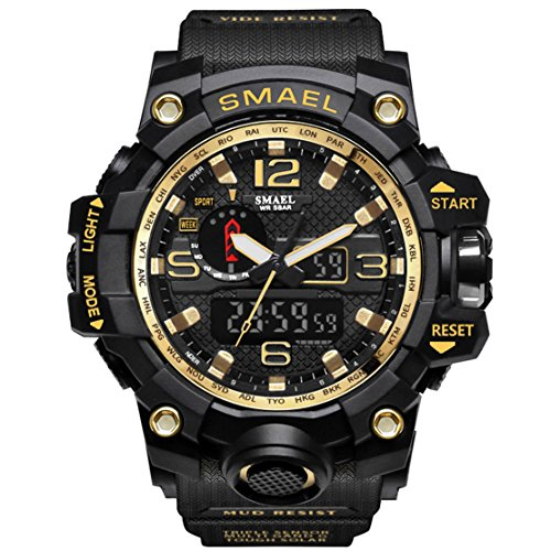 KXAITO Mens Watches Sports Outdoor Waterproof Military Watch Date Multi Function Tactics LED Alarm Stopwatch (Gold)