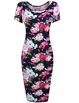 Hotouch Womens Floral Sweetheart Scoop Neck Short Sleeve Midi Pencil Slim Dress