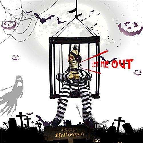 PinPle Halloween Gift - Jail Prisoner Skeleton - Motion Sensor Hanging Caged Animated Screaming Skeletons for Halloween Decoration (Black-1)