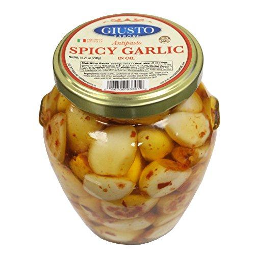 Giusto Sapore Spicy Garlic in Oil Antipasto 10.23oz - Non GMO Italian Premium Gourmet Brand - Imported from Italy and Family Owned