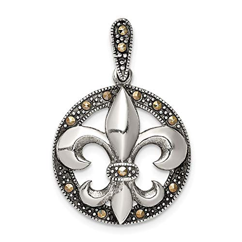 (925 Sterling Silver Marcasite Fleur De Lis Pendant Charm Necklace Man Fine Jewelry Gift For Dad Mens For Him)