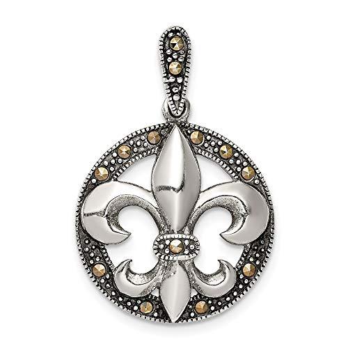 (Mia Diamonds 925 Sterling Silver Antiqued Marcasite Fleur De Lis Pendant)