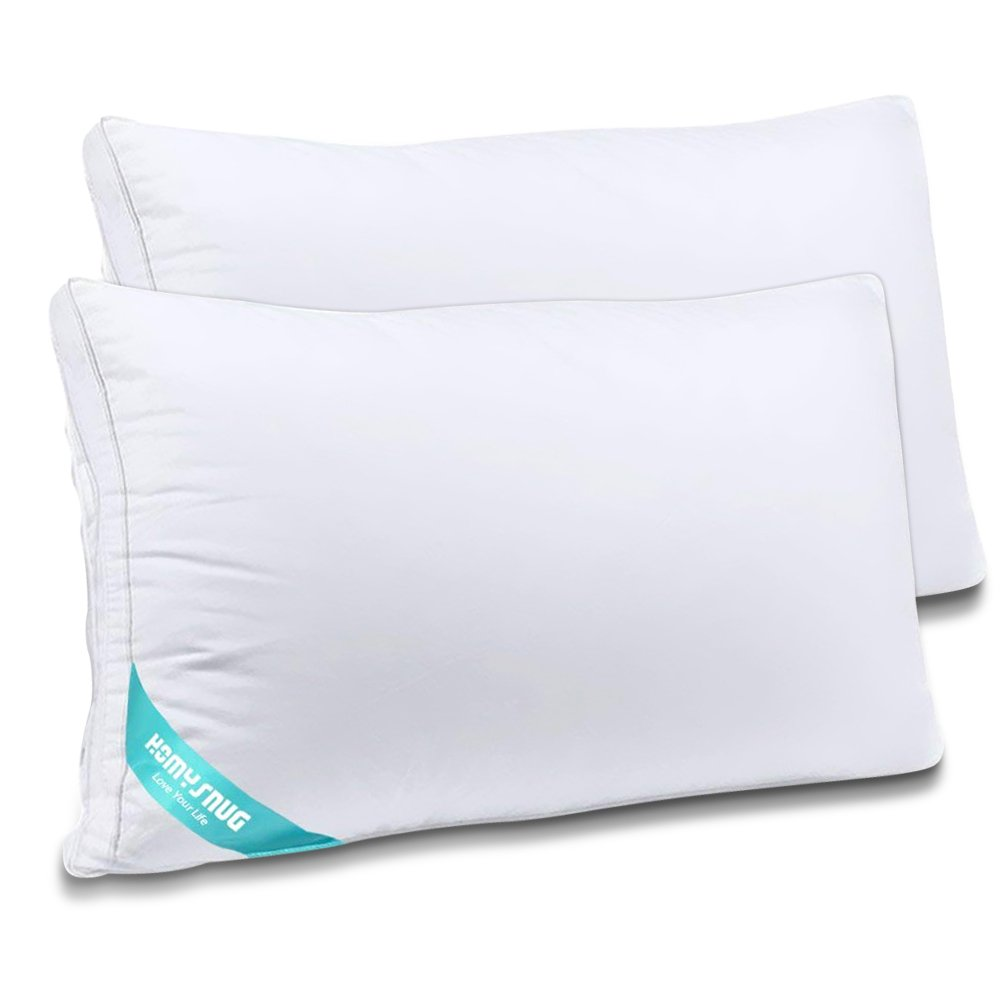 HOMYSNUG Pillows Queen/2 Pack for Sleeping,Adjustable Loft - Hypoallergenic Plush Down Alternative Bed Pillows Relief for Neck Pain, Side Sleeper For Home Bedding & Hotel Collection 100% Cotton Cover