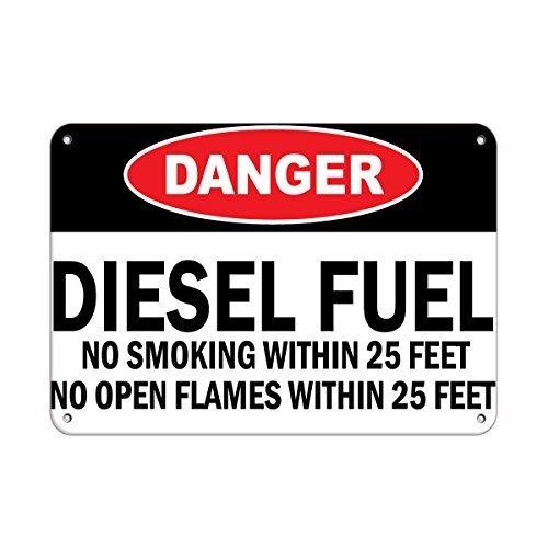Joycenie New Great Signs Aluminum Metal Danger Diesel Fuel No Smoking/Open Flames Within 25 Feet 12x18 Inch