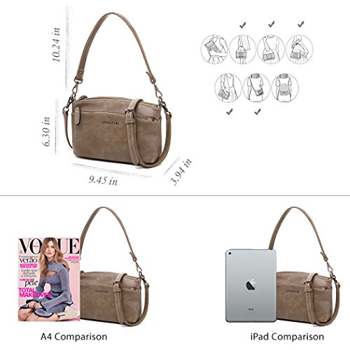 for Pockets Satchel Bag Bags Taupe Shoulder PU Women Bag Crossbody Multi Zipper Small Leather Tote qHfvazq