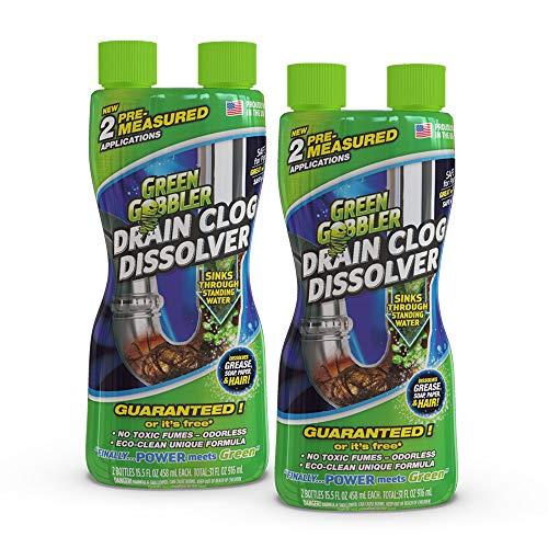 Green Gobbler Liquid Hair & Grease Clog Remover   Drain Opener   Drain cleaner   Toilet Clog Remover – 2 Pack