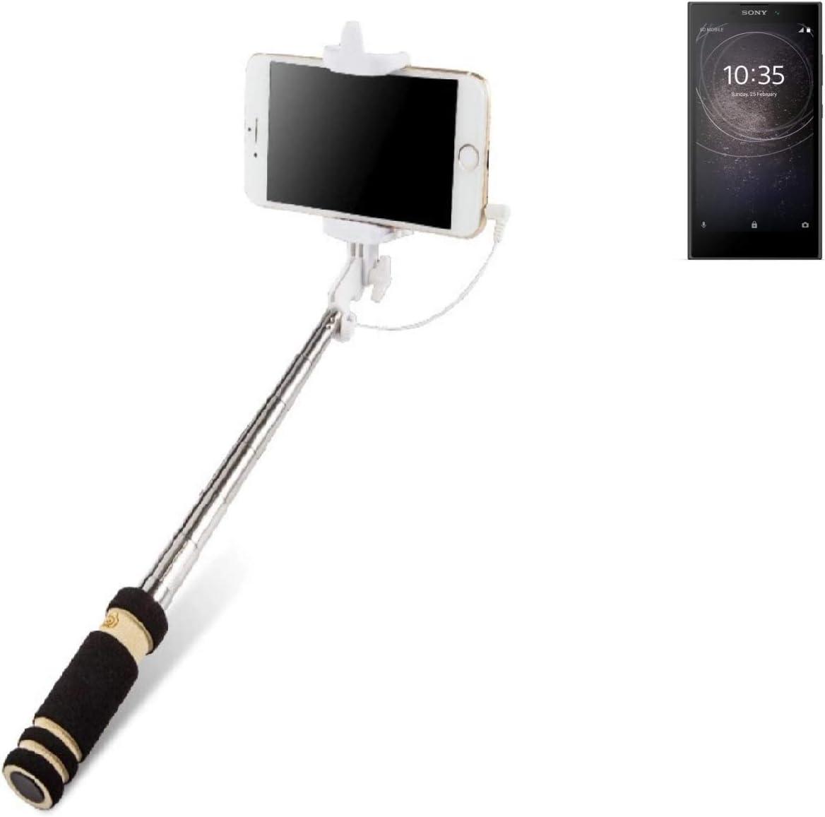 black Self Portrait wired Monopod Handheld Stick telescopic pole for Sony Xperia L2 K-S-Trade Selfie Stick e.g