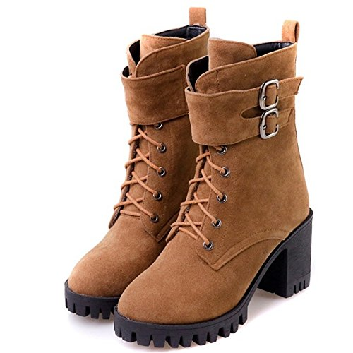 Up Suede Autumn Faux Brown Riding Heels Block Women Boots Lace Ankle High COOLCEPT qRZXfpX