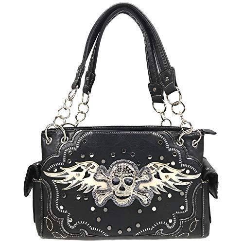 Skull Crossbones Wings - Justin West Skull Crossbones Angel Wings Bling Concealed Carry Handbag Purse Trifold Crossbody Wallet (Pewter Handbag)