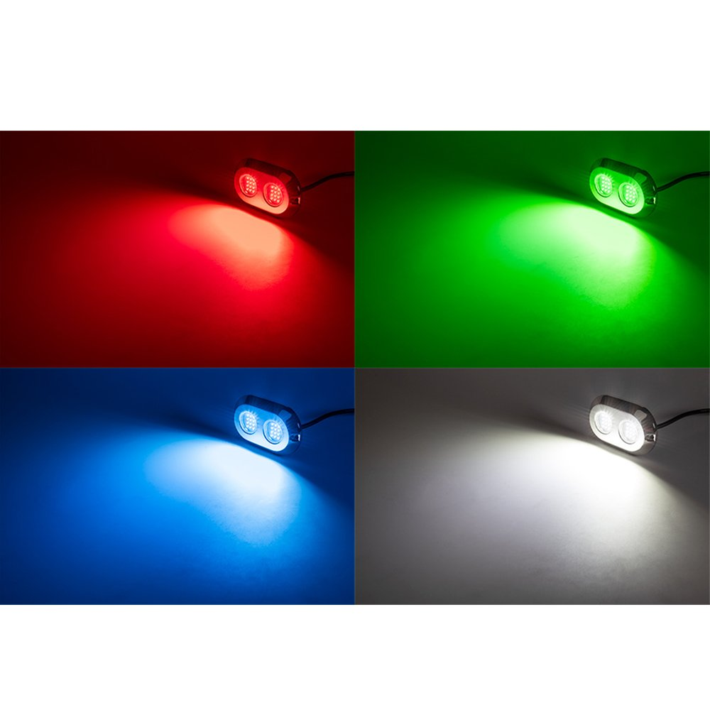 White Jiawill 120W CREE LED Surface Mount Underwater Boat Lights 316L Stainless Steel with Internal Driver,Overheat Protection,White,Blue,Green,Red,Dual Color Red Jiawill Tech