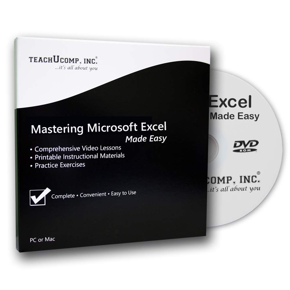 Learn Microsoft Excel 2016 Made Easy Video Training Tutorial DVD-ROM Course: Even Dummies Can Learn Excel With This Course for Everyone by TeachUcomp