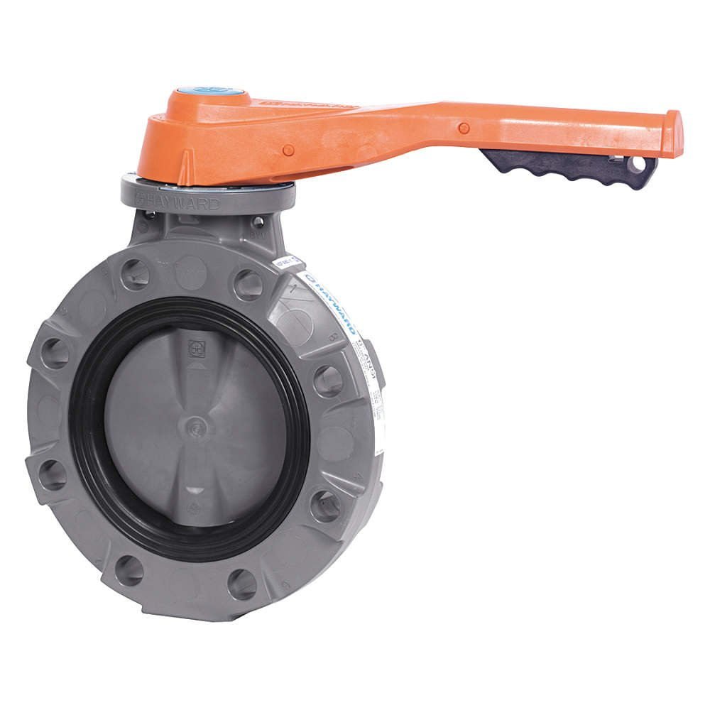 VITON and FPM Seals 6 Size GFPP Disc Lever Operated GFPP Body Hayward BYV44060A0VL000 Series BYV Butterfly Valve