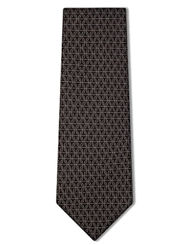 Origin Ties Silk Formal Tie Trendy Pin Dots with Chain Pattern Business Necktie Dark Grey (Silk Chain Necktie)