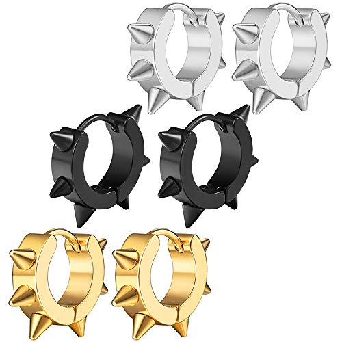 with Spikes Punk Spiky Stainless Steel Hoop For Men Women 3 Set ()