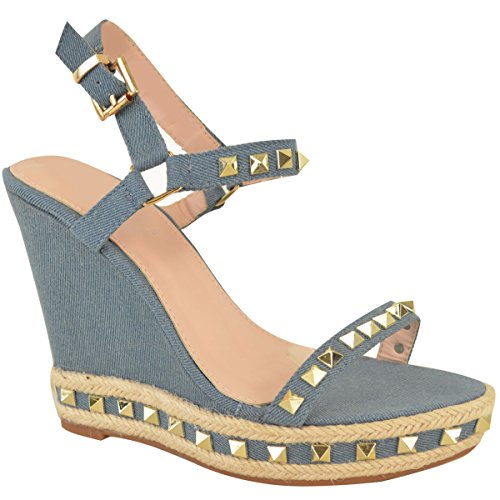 Fashion Thirsty Womens Ladies Studded Wedge Sandals Strappy Platforms Denim Summer Shoes Size Mid Blue Denim b7HXOe