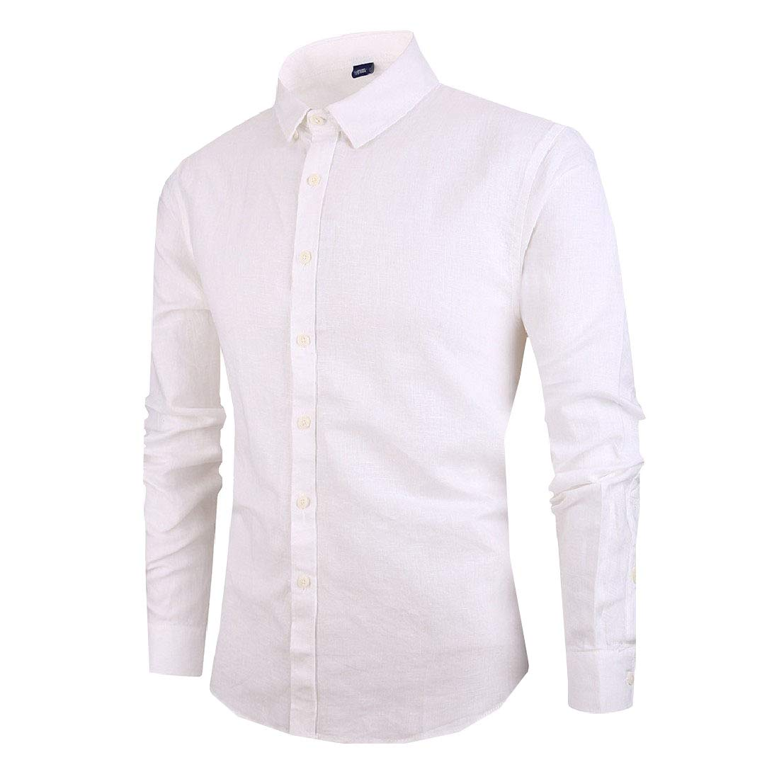RDHOPE-Men Solid-Colored Long Sleeve Turn-Down Collar Flax Slim Western Shirt