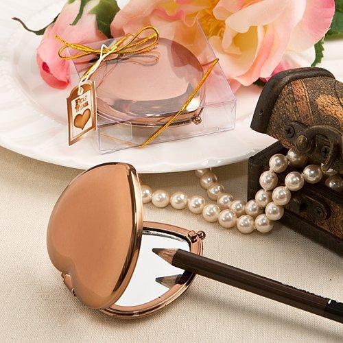Heart Compact Mirror (Bronze Metallic Heart Compact Mirrors - Set of 3)