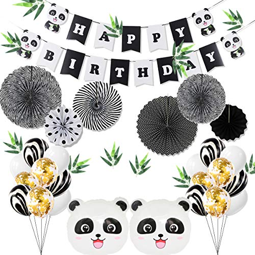 Kids Birthday Party Decoration - Panda Party Supplies, Party Decoration Set including a Panda Happy Birthday Banner, 12 Letax Balloons, 6 Confetti Balloons, 2 Panda Shaped Balloons, 7 Paper Fans in Pandas' Color, 12 Bamboo Leaves, Perfect for Kids Birthday Party -