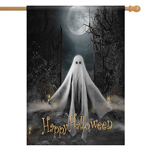 InterestPrint 3D Ghost Hovering Under Full Moon Halloween