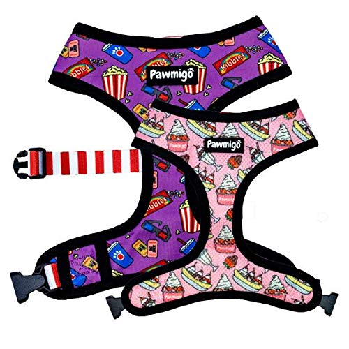 Pawmigo Saturday & Chill 2-for-1 Reversible Harness for French Bulldogs, Boston Terriers, Pugs, Other Compact Dogs (Large)