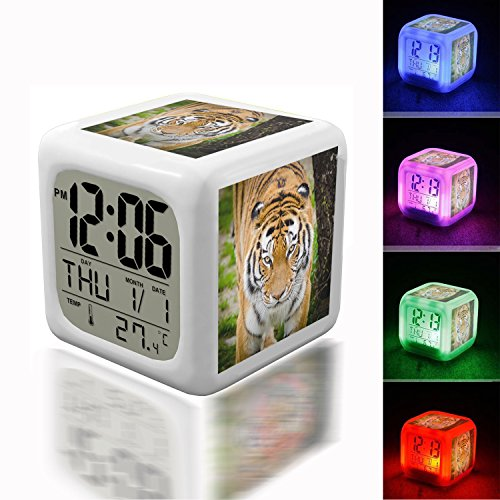Digital Alarm Thermometer Night Glowing Cube 7 Colors Clock LED Customize the pattern 279.Tiger Beside Tree