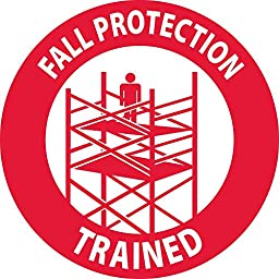 National Marker Corp. HH115 Fall Protection Trained, Graphic, 2 Inch Dia, PS Vinyl, 25/Pk