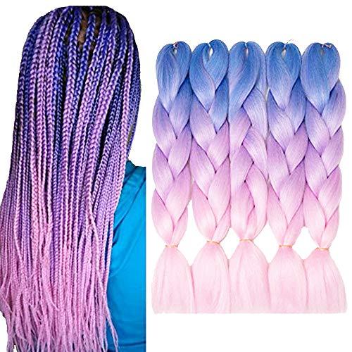 VERVES Braiding Hair 5 piece/lot 24 inch Braids 100g/piece Synthetic ombre Fiber Hair Extensions crochet braids (light blue ombre light purple ombre pink) ()