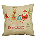 Clearance!1PC Vintage Christmas Cotton Linen Sofa Bed Home Decor Pillow Case Cushion Cover (C)
