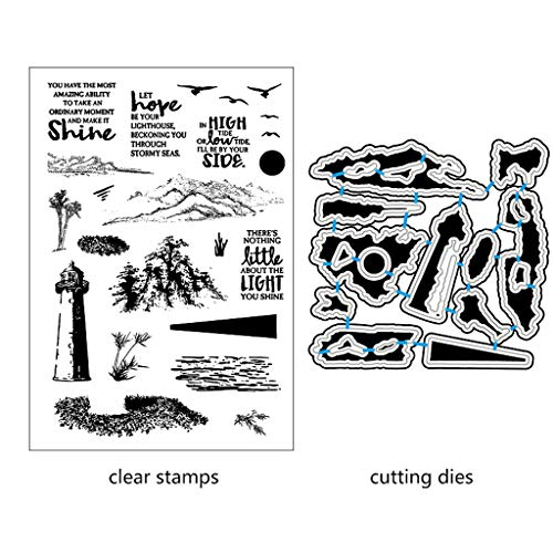(ShapeW Lighthouse,Mountain,Trees Metal Cutting Dies Stamp Stencils DIY Scrapbooking Photo Album Decor Cards (Clear Stamp+Dies Cutting))