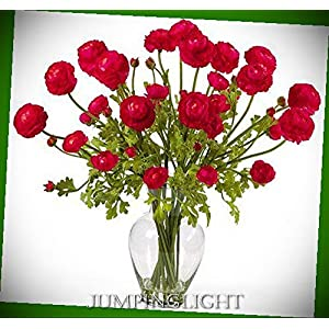 JumpingLight 1087-RD Ranunculus Liquid Illusion Silk Flower Arrangement Artificial Flowers Wedding Party Centerpieces Arrangements Bouquets Supplies