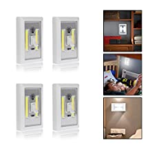 Fornorm COB LED Wall Night Lights Camp Lamp Battery Operated LED Cordless Light Switch Cool Light with Magic Tape for Caninet, Garage, Stairwell, Closet, Kitchen, Camping (Pack of 4)