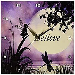 3dRose dpp_35696_1 Believe Fairy with Dragonflies with Moon and Purple Sky Wall Clock, 10 by 10-Inch
