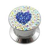 14MM Multi Rainbow Crystal with Dark Blue Heart Internal Thread Ear Tunnel Body jewelry