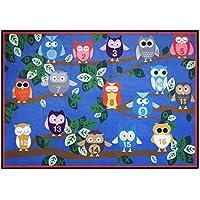 USTIDE Cute Numbers on Owl Kids Area Rug 39 x52 Happy Playtime Educational Rug Blue