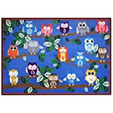 USTIDE Cute Numbers on Owl Kids Area Rug 3'9'' x5'2 Happy Playtime Educational Rug Blue