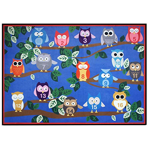 USTIDE Cute Numbers on Owl Educational Kids Rug Numbers Animal on Blue 5'x7' Bright Kids Rug for Bedroom and Playroom by USTIDE