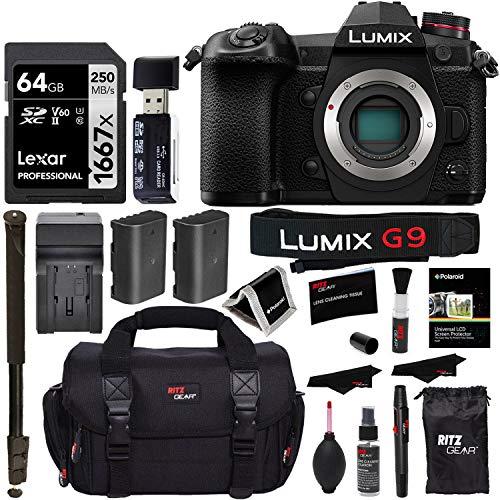 "Panasonic Lumix G9 Mirrorless Camera Body 20.3 MP G9KBODY, Lexar 64GB High Speed SD Card U3, Polaroid 72"" Monopod, Spare Battery, Battery Charger, Ritz Gear Cleaning Kit and Accessory Bundle"