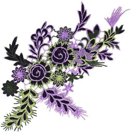 1pieces Embroidered Patches 3D Flower Applique DIY Sewing Repair Accessories Fabric Wedding Clothing Dress Floral Decorative Patches T2642 (purple) / 1pieces Embroidered Patches 3D Flower Applique DIY Sewing Repair Accessories Fabr...