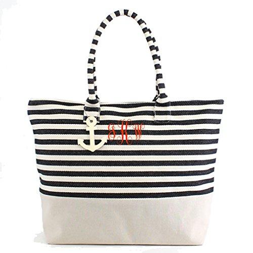 Black Monogrammed Large Zipper Top Stripe Canvas Look Beach Bag (Monogrammed Bag)