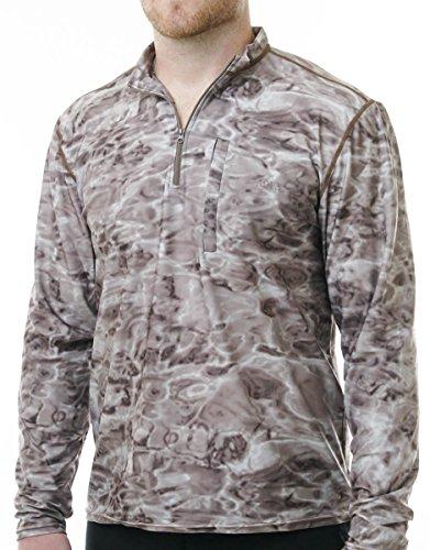 Aqua Design Men's Spear Fishing 1/4 Zip High Collar Long Sleeve Rash Guard Shirt, Pacific Sand, XL