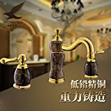 Furesnts Modern home kitchen and Bathroom Sink Taps Jade Gold all bronze three piece of hot and cold desktop above Basin Mixer Taps Bathroom Sink Taps,(Standard G 1/2 universal hose ports)